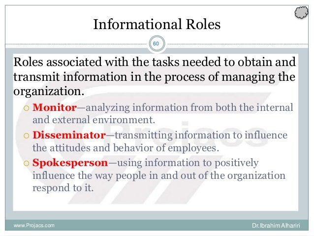 60 Informational Roles Roles associated with the tasks needed to obtain and transmit information in the process of managin...