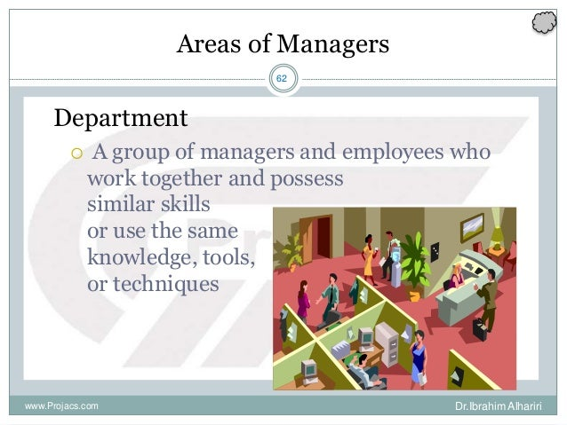 62 Areas of Managers Department  A group of managers and employees who work together and possess similar skills or use th...