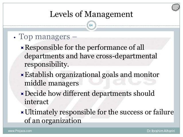 64 Levels of Management • Top managers – Responsible for the performance of all departments and have cross-departmental r...