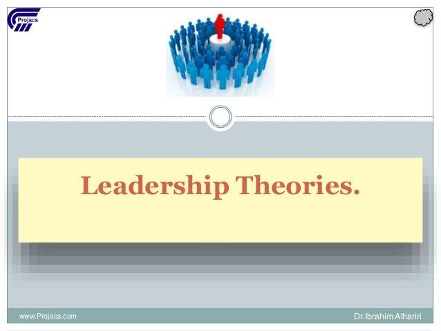 Leadership Theories. www.Projacs.com Dr.Ibrahim Alhariri