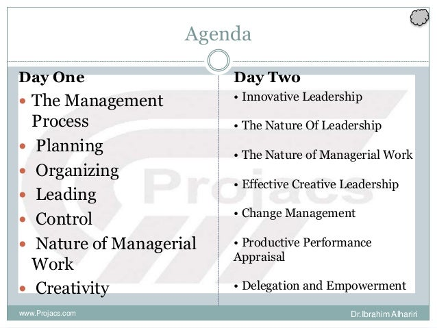 Agenda Day One  The Management Process  Planning  Organizing  Leading  Control  Nature of Managerial Work  Creativi...
