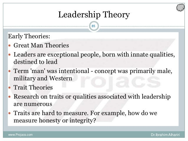 85 Leadership Theory Early Theories:  Great Man Theories  Leaders are exceptional people, born with innate qualities, de...