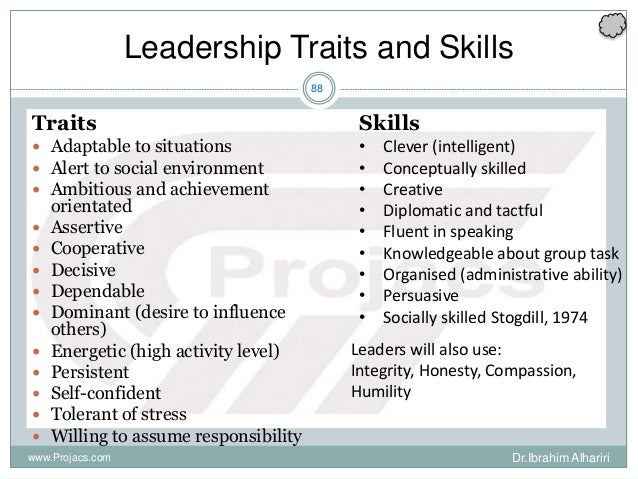 88 Traits  Adaptable to situations  Alert to social environment  Ambitious and achievement orientated  Assertive  Coo...