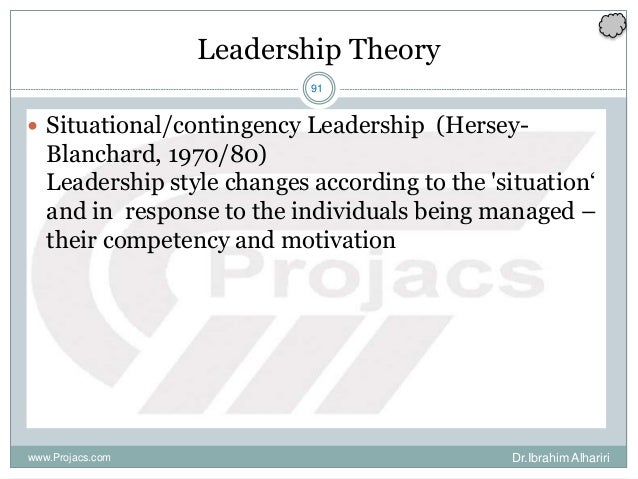 91 Leadership Theory  Situational/contingency Leadership (Hersey- Blanchard, 1970/80) Leadership style changes according ...