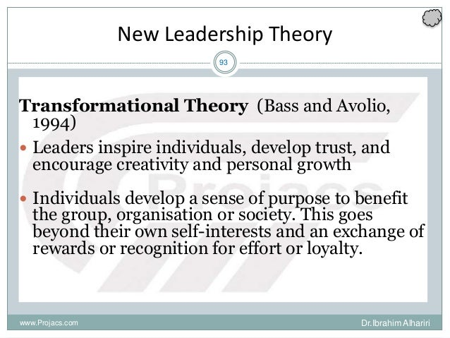 93 New Leadership Theory Transformational Theory (Bass and Avolio, 1994)  Leaders inspire individuals, develop trust, and...
