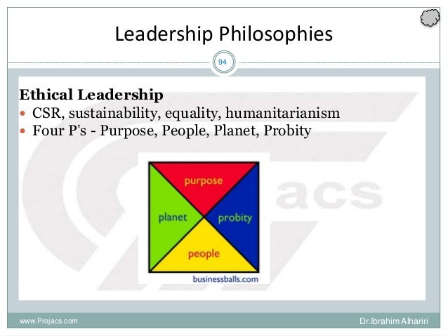 94 Leadership Philosophies Ethical Leadership  CSR, sustainability, equality, humanitarianism  Four P's - Purpose, Peopl...