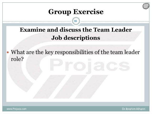 96 Group Exercise Examine and discuss the Team Leader Job descriptions  What are the key responsibilities of the team lea...