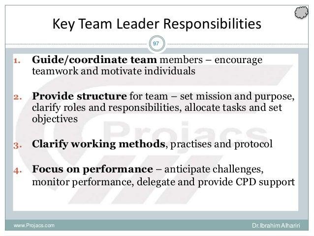 97 Key Team Leader Responsibilities 1. Guide/coordinate team members – encourage teamwork and motivate individuals 2. Prov...