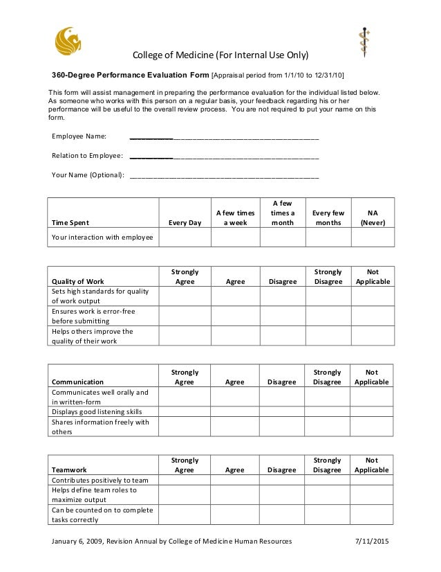 College Of Medicine (For Internal Use Only) 360 Degree Performance  Evaluation Form ...  Appraisal Review Form