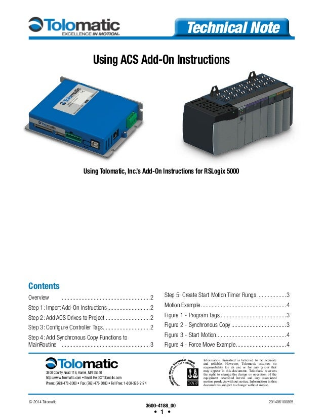 How to use Add-On instructions to interface a Tolomatic ACS drive wit…