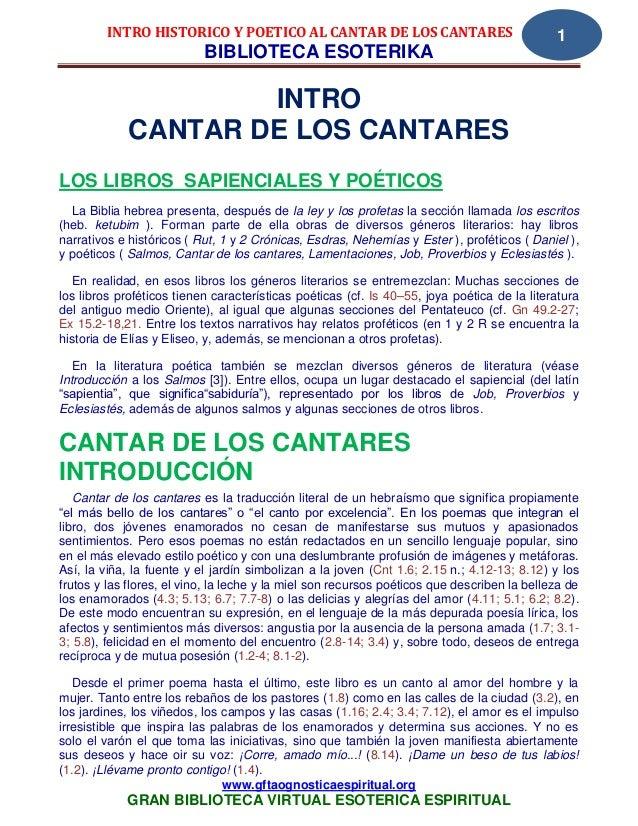 INTRO HISTORICO Y POETICO AL CANTAR DE LOS CANTARES                                 1                           BIBLIOTECA...