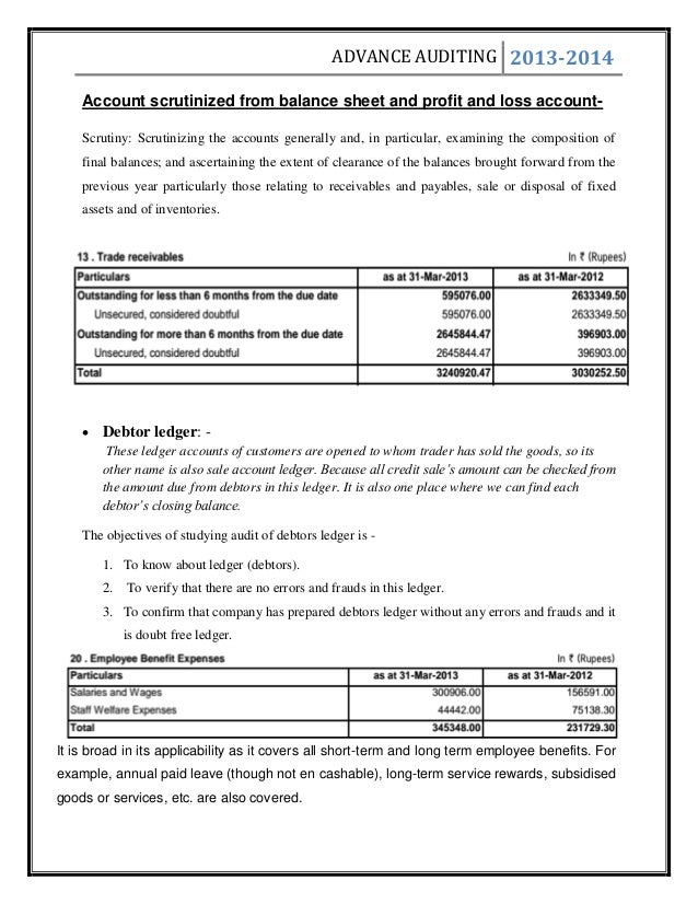Audit On Compay Company Audit