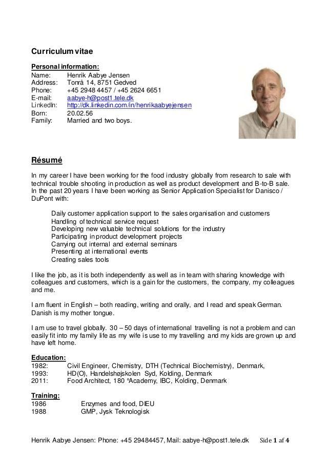 Curriculum Vitae Henrik Aabye Jensen