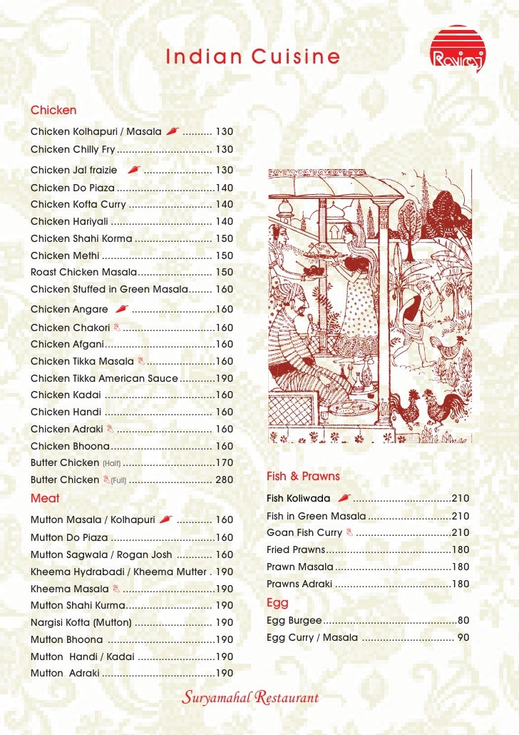 Raviraj Restaurant Menu Card 2009 2010