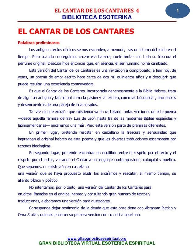 EL CANTAR DE LOS CANTARES 4                                               1                          BIBLIOTECA ESOTERIKAE...
