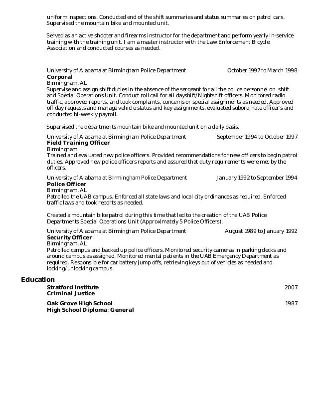 Campus Police Officer Resume Law Enforcement Resume Sample