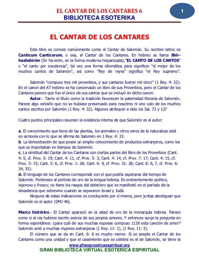 EL CANTAR DE LOS CANTARES 6                                                    1                         BIBLIOTECA ESOTER...