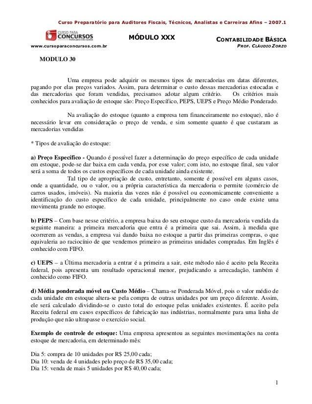 Curso Preparatório para Auditores Fiscais, Técnicos, Analistas e Carreiras Afins – 2007.1                                 ...