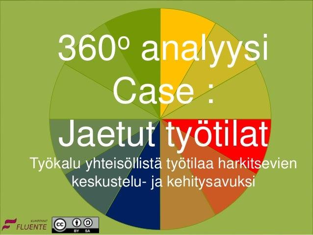 360o analyysi Case : Jaetut työtilat Työkalu yhteisöllistä työtilaa harkitsevien keskustelu- ja kehitysavuksi