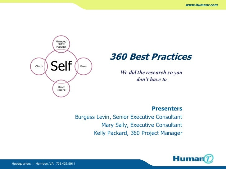 360 Best Practices<br />Presenters<br />Burgess Levin, Senior Executive Consultant<br />Mary Saily, Executive Consulta...