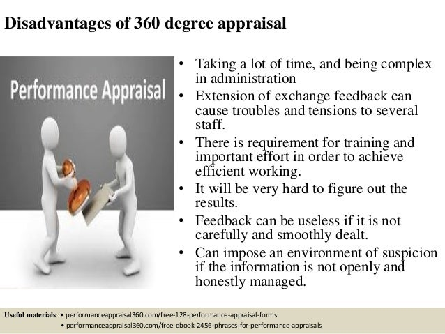 360 degree performance appraisal An appraisal made by top management, immediate superior, peers, subordinates, self and customers is called 360 degree appraisal here, the performance of the employee or manager is evaluated by six parties, including himself.