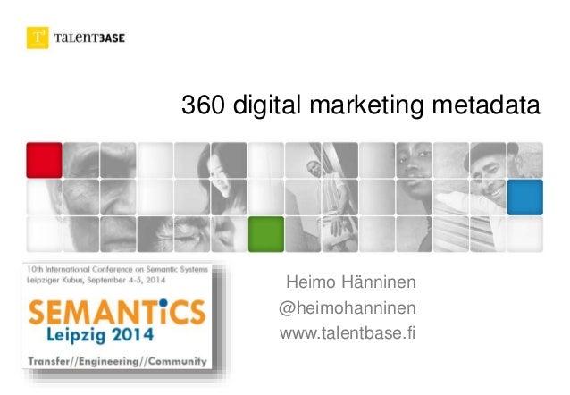 360 digital marketing metadata Heimo Hänninen @heimohanninen www.talentbase.fi