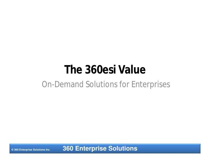 The 360esi Value                         On-Demand Solutions for Enterprises     © 360 Enterprise Solutions Inc.   360 Ent...