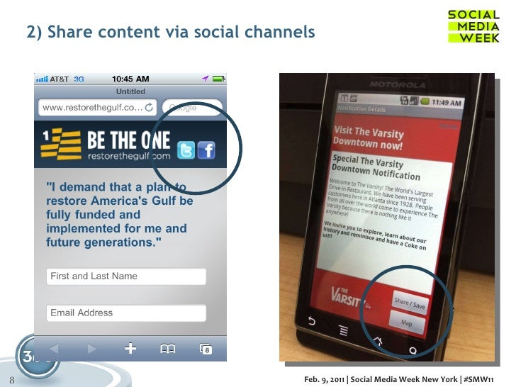2) Share content via social channels