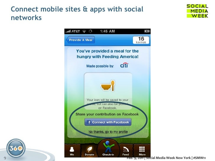 Connect mobile sites & apps with social networks