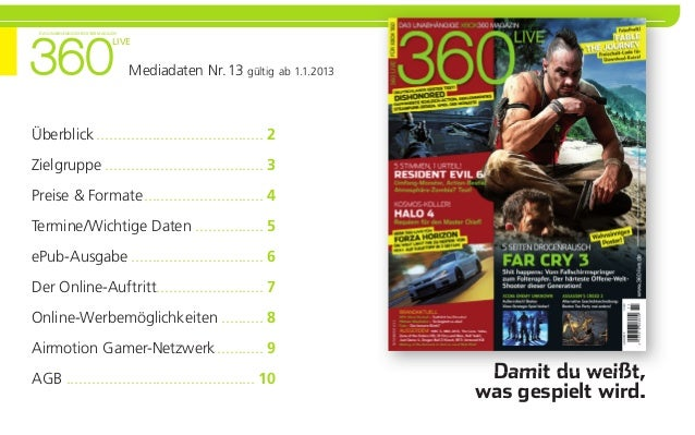 Das unabhängige XbOX 360 Magazin                               LiVe                                    Mediadaten Nr. 13 g...