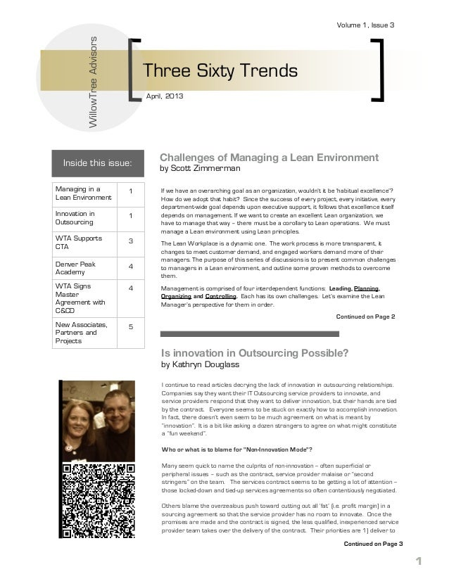 WillowTree Advisors  Volume 1, Issue 3  Three Sixty Trends April, 2013  Inside this issue: Managing in a Lean Environment ...