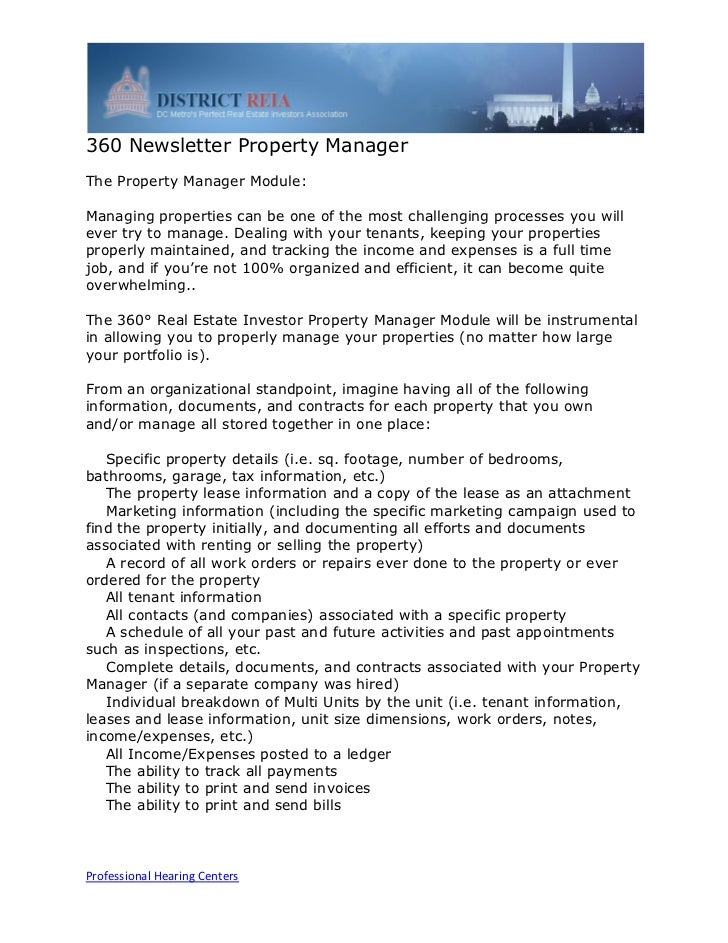 360 Newsletter Property ManagerThe Property Manager Module:Managing properties can be one of the most challenging processe...