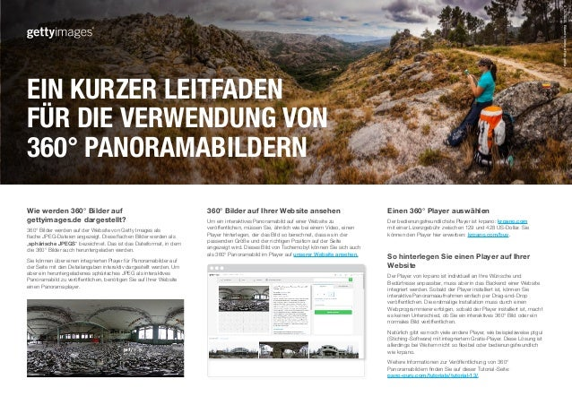 Wie werden 360° Bilder auf gettyimages.de dargestellt? 360° Bilder werden auf der Website von Getty Images als flache JPEG...