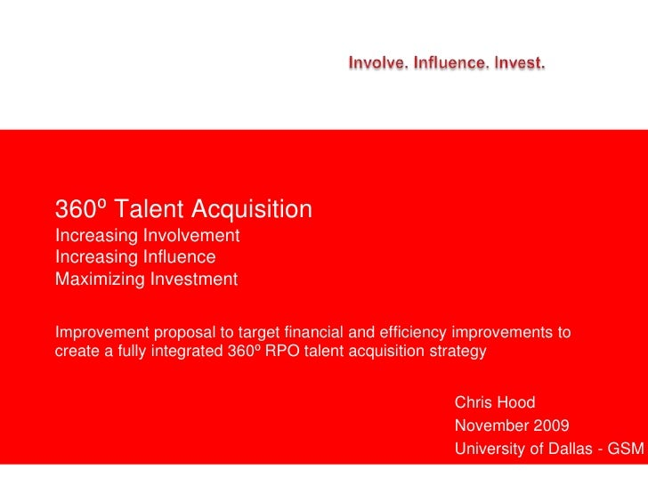 360⁰ Talent Acquisition Increasing Involvement Increasing Influence Maximizing Investment  Improvement proposal to target ...