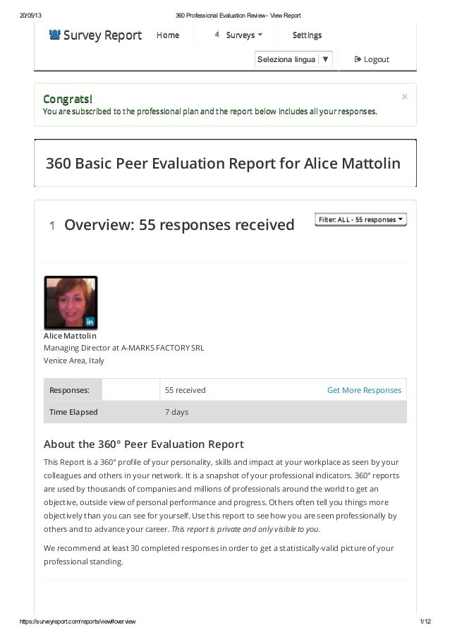20/05/13 360 Professional Evaluation Review - View Reporthttps://surveyreport.com/reports/view#overview 1/12 Survey Repo...