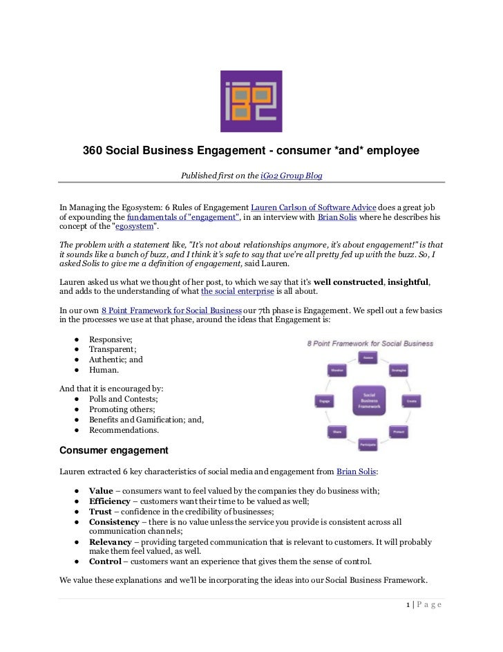 360 Social Business Engagement - consumer *and* employee                                  Published first on the iGo2 Grou...