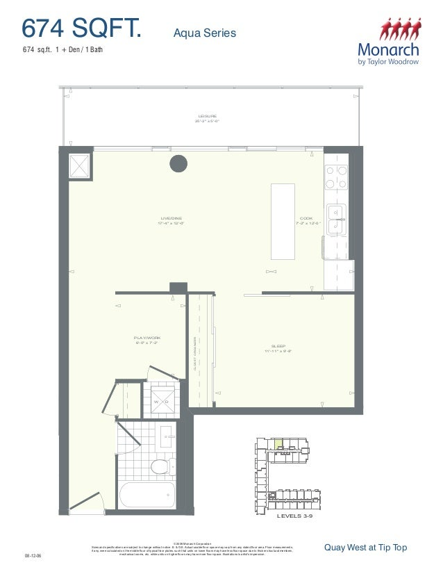 674 SQFT. Aqua Series © 2006 Monarch Corporation Sizes and specifications are subject to change without notice. E. & O.E. ...
