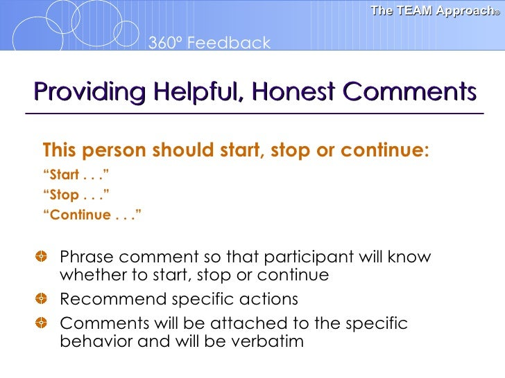 360 feedback orientation template for Start stop continue template