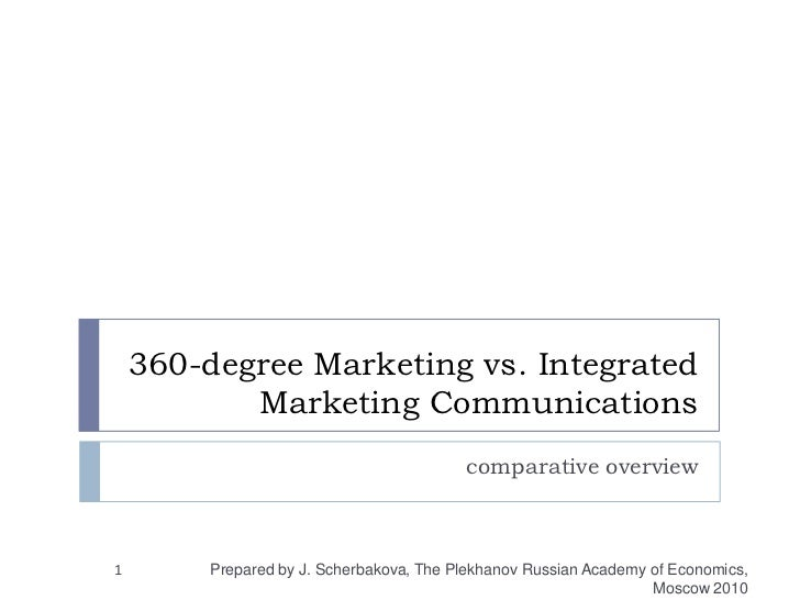360-degree Marketing vs. Integrated Marketing Communications<br />comparative overview<br />1<br />Prepared by J. Scherbak...