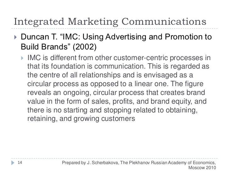 """Integrated Marketing Communications<br />Duncan T. """"IMC: Using Advertising and Promotion to Build Brands"""" (2002)<br />IMC ..."""