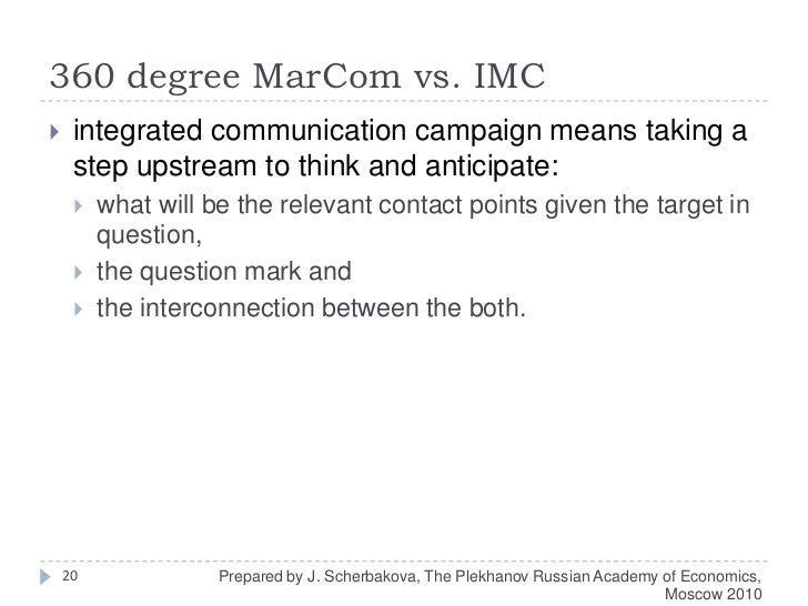 360 degree MarComvs. IMC<br />integrated communication campaign means taking a step upstream to think and anticipate: <br ...