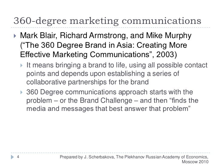 """360-degree marketing communications<br />Mark Blair, Richard Armstrong, and Mike Murphy (""""The 360 Degree Brand in Asia: Cr..."""