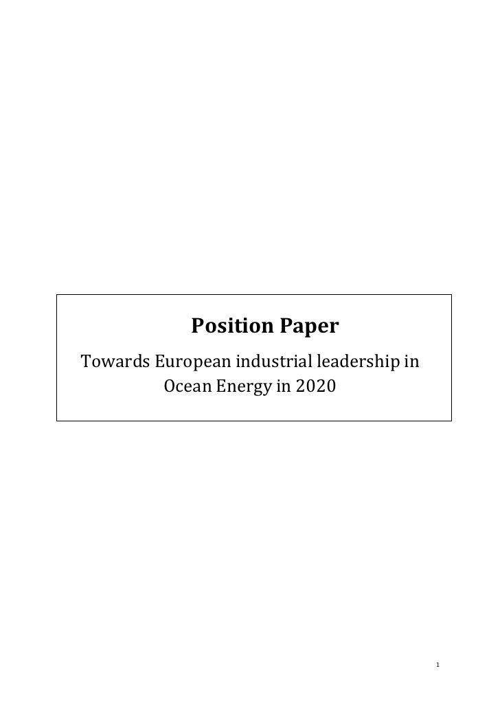 Position PaperTowards European industrial leadership in         Ocean Energy in 2020                                      ...