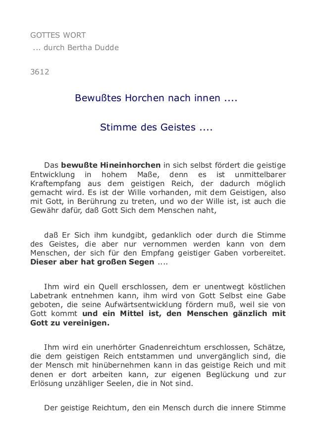 GOTTES WORT ... durch Bertha Dudde 3612 Bewußtes Horchen nach innen .... Stimme des Geistes .... Das bewußte Hineinhorchen...