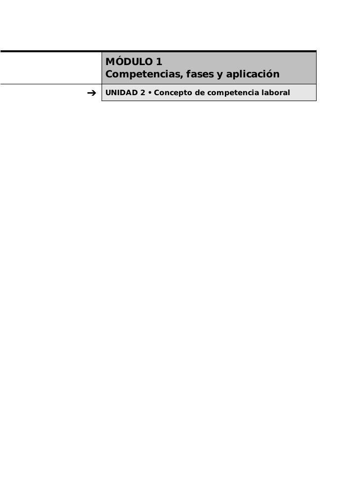 MÓDULO 1     Competencias, fases y aplicación ➔   UNIDAD 2 • Concepto de competencia laboral