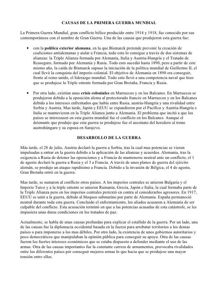 CAUSAS DE LA PRIMERA y SEGUNDA GUERRA MUNDIAL