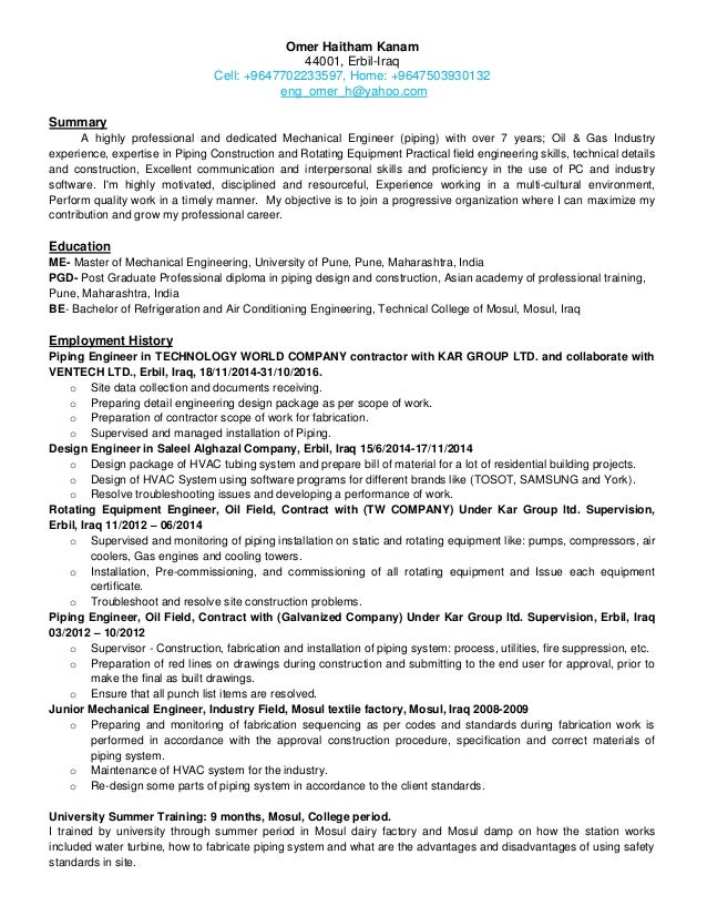 construction piping engineer resume