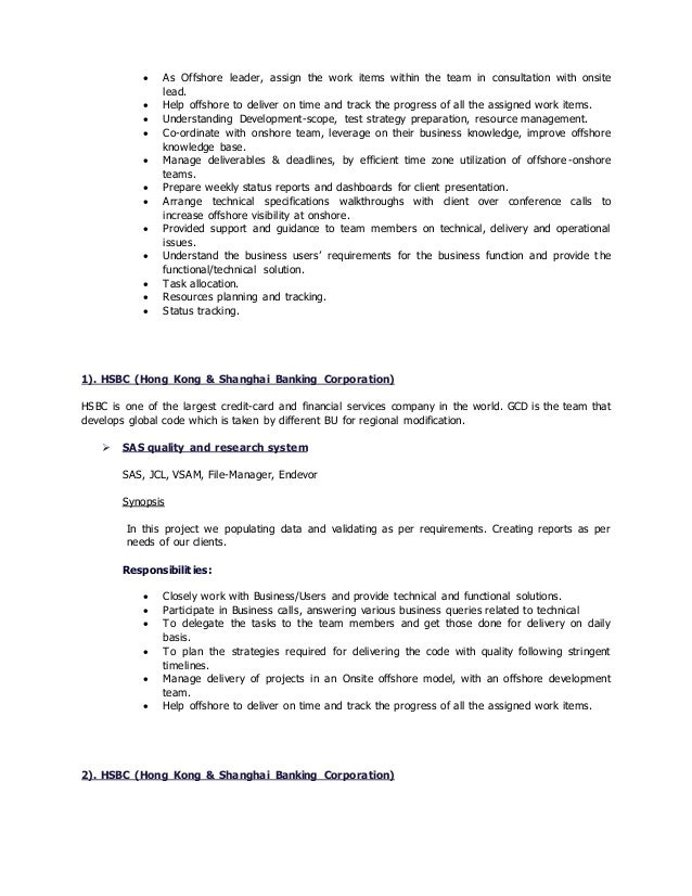Offshore Transition Project Manage Resume