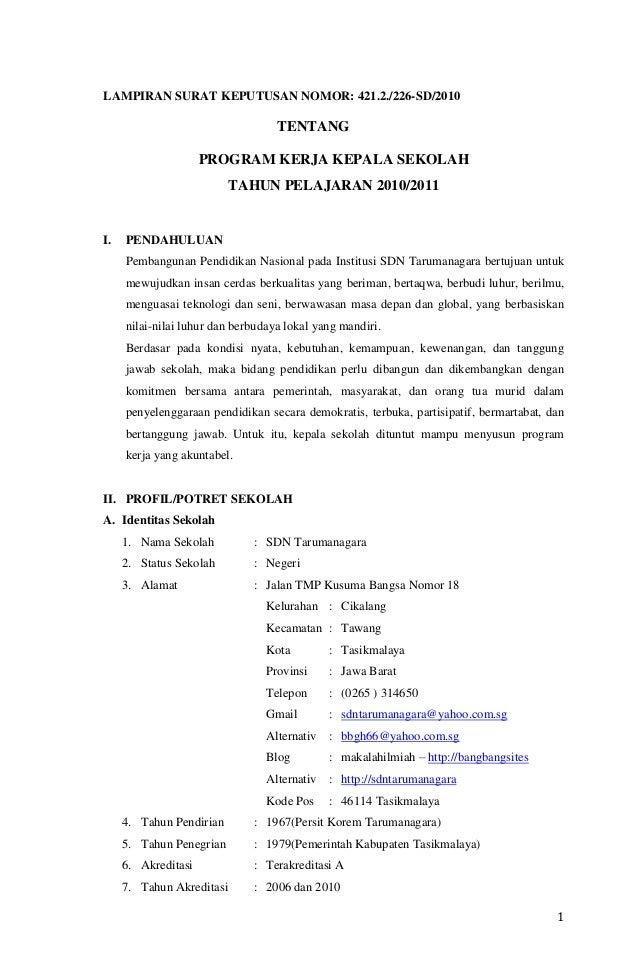 1 LAMPIRAN SURAT KEPUTUSAN NOMOR: 421.2./226-SD/2010 TENTANG PROGRAM KERJA KEPALA SEKOLAH TAHUN PELAJARAN 2010/2011 I. PEN...