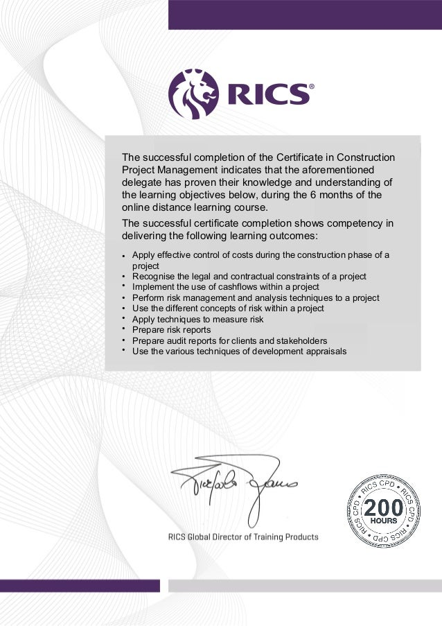 certificate in construction project management cpd certificate